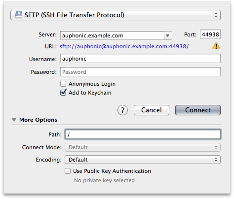 Setting up the Auphonic SFTP server in Cyberduck